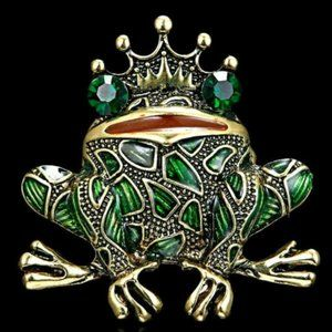 ROYAL Crown Kissing FROG PRINCE Rhinestone Brooch